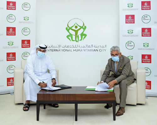 توقيع مذكرة تفاهم بين الإمارات للشحن الجوي والمدينة العالمية للخدمات الإنسانية