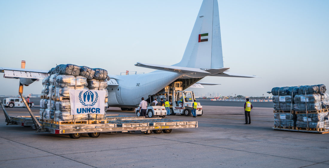 The United Arab Emirates responds to the UNHCR appeal and funds airlifts of emergency humanitarian relief for Mediterranean sea arrivals in Greece